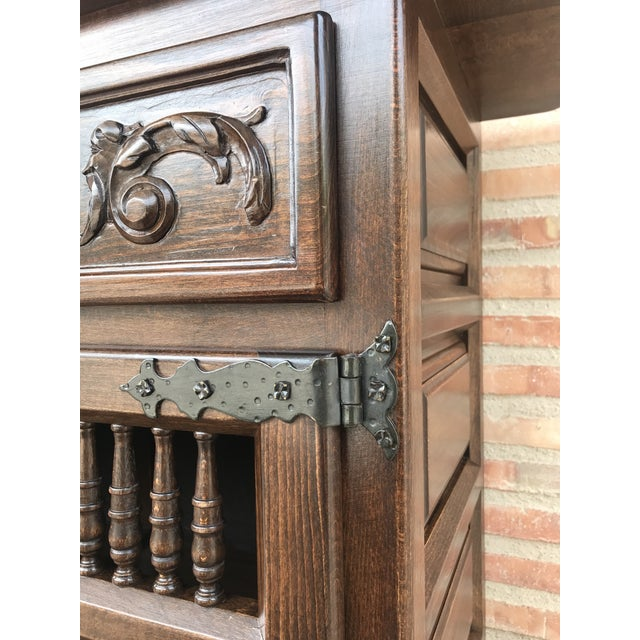 20th Century Spanish Carved Dark Walnut Tuscan Two Drawers Credenza or Buffet For Sale - Image 11 of 13