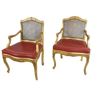 Pair of Antique Gilded Wood Regency Chairs With Red Leather Cushions For Sale