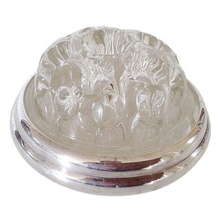French Christofle Glass & Silver Flower Frog For Sale