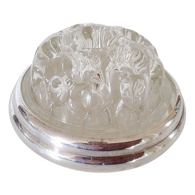 Maison Christofle Glass & Silver Flower Frog For Sale