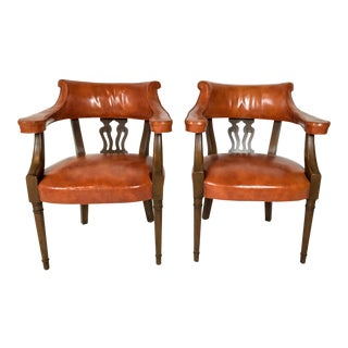 Hickory Chair Leather Library Chairs - a Pair