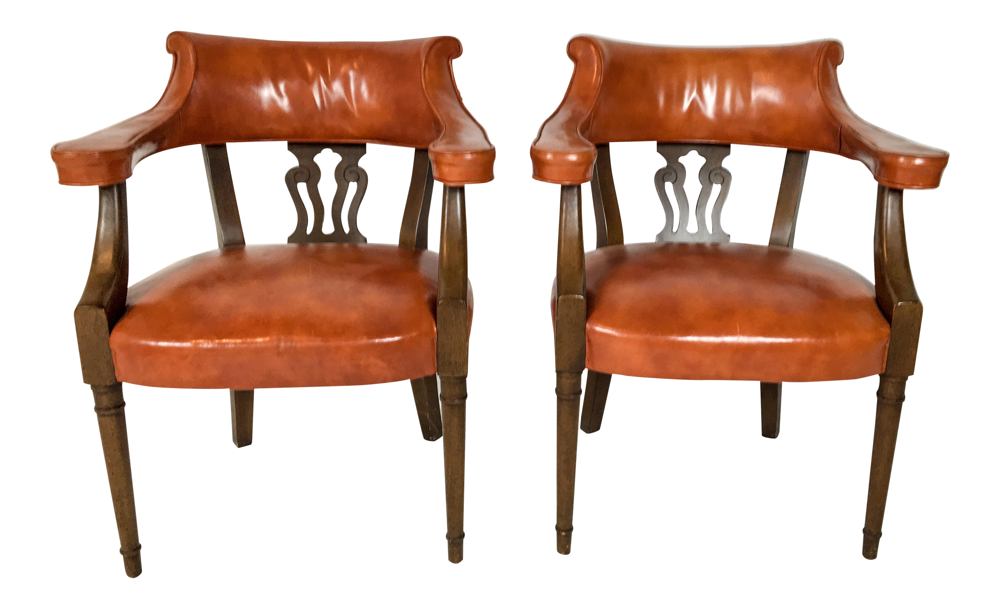 Great Hickory Chair Leather Library Chairs   A Pair