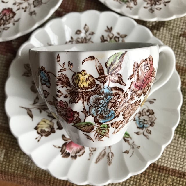4 Vintage English Ironstone Cups & Saucers - 8 Pieces For Sale In Boston - Image 6 of 9