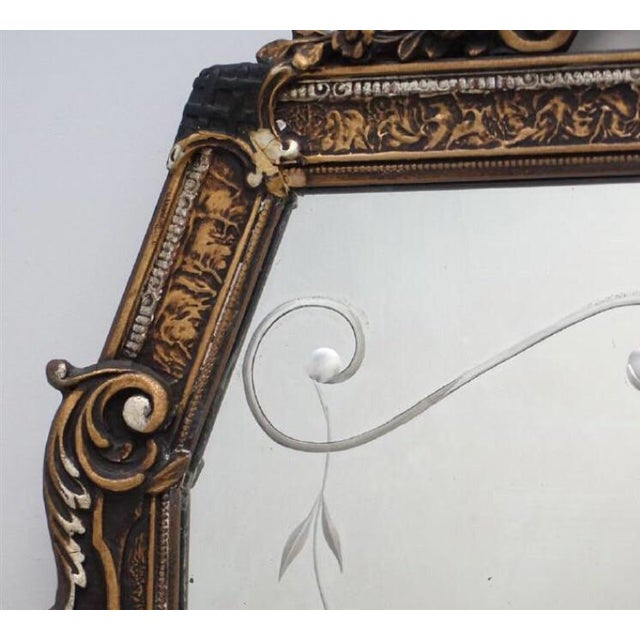 Early 20th Century Early 20th C. Etched Glass and Gesso Mirror For Sale - Image 5 of 7