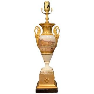 Old Paris Swan Handled Topographical Vase of Hanover Terrace, Regents Park For Sale