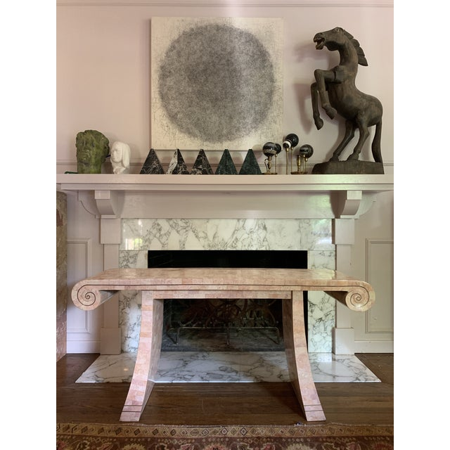 Hollywood Regency 1980s Hollywood Regency Maitland -Smith Tessellated Pink Scroll Marble Console Table For Sale - Image 3 of 13