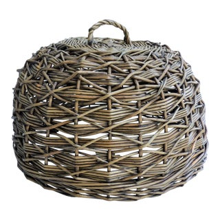 Woven Wicker Dome Cloche Cake Cover For Sale