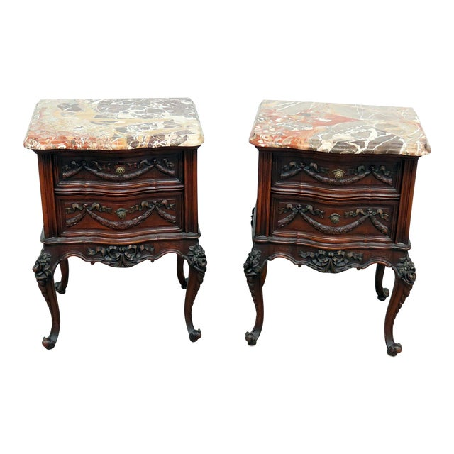 Louis XV Style Marble Top End Tables For Sale