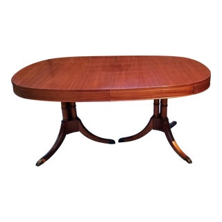 Sheraton Style Double Pedestal Mahogany Dining Room Table For Sale