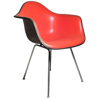 Herman Miller Charles Eames Shell Chair in a Nice Orange on Taupe Fiberglass For Sale