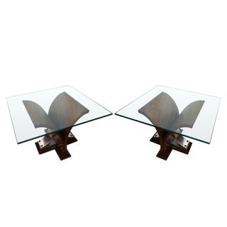1930s Art Deco Cuneiform Wedge Shaped Aluminum Based End Tables - a Pair For Sale