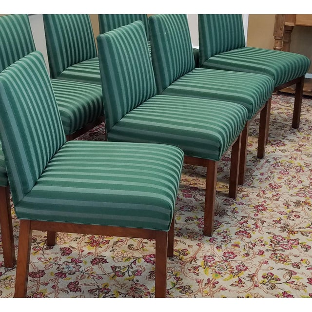 1970s Directional Contract Furniture Green Striped Upholstered Dining Room Chairs - Set of 8 - Image 11 of 11