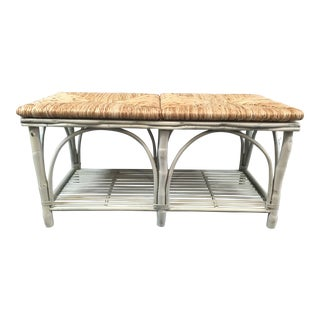 Country/Cottage Bench With Shelf Woven Rush Seat For Sale