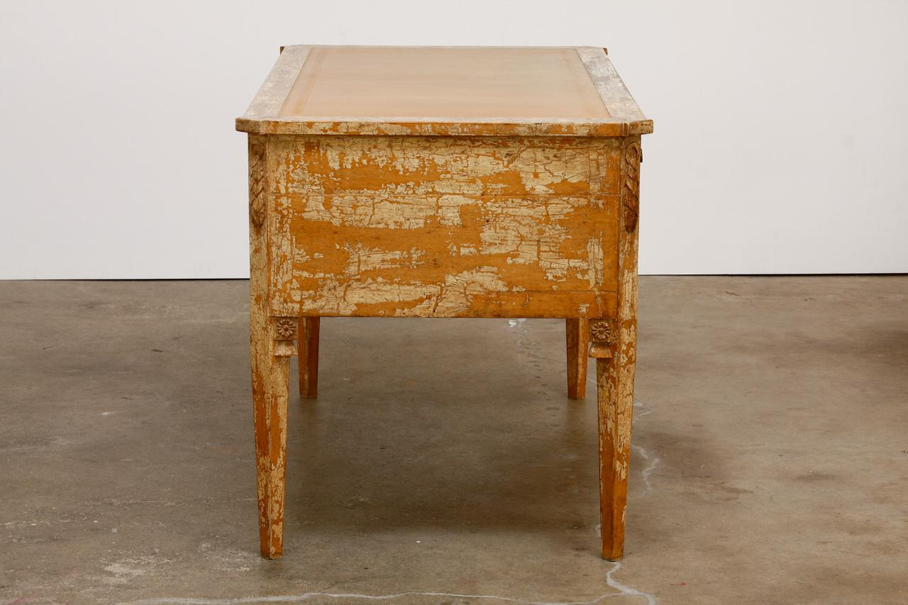 Neoclassical Neoclassical Leather Top Desk With Scraped Lacquer Finish For  Sale   Image 3 Of 13