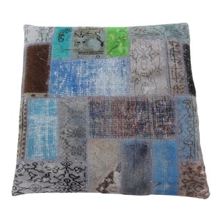 Vintage Turkish Patchwork Floor Pillow Dog Bed 36'' x 36'' For Sale