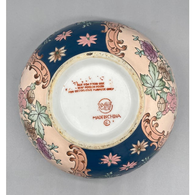 Blue 20th Century Chinese Blue and Pink Floral Bowl/ Catchall For Sale - Image 8 of 11
