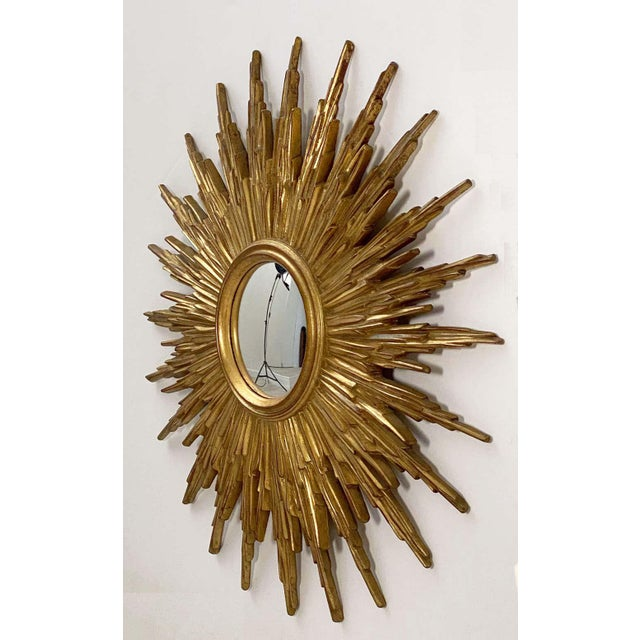 Mid-Century Modern Belgian Gilt Sunburst or Starburst Convex Mirror (Diameter 31 1/2) For Sale - Image 3 of 13