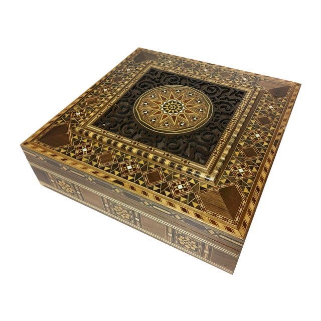 Middle Eastern Handmade Engraved Inlaid Mosaic Wooden Box For Sale