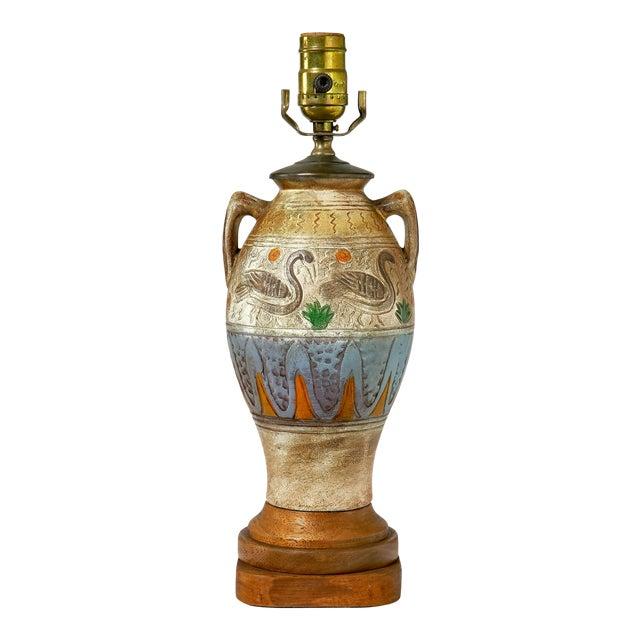 Tribal Village Inspired Ceramic Table Lamp For Sale