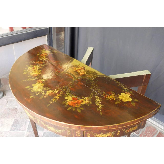 Late 18th Century George III Paint Decorated Demilune Game Table, circa 1780 For Sale - Image 5 of 8