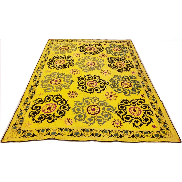 Late 20th Century Late 20th Century Suzani Textile Rug - 6′2″ × 8′2″ For Sale - Image 5 of 9