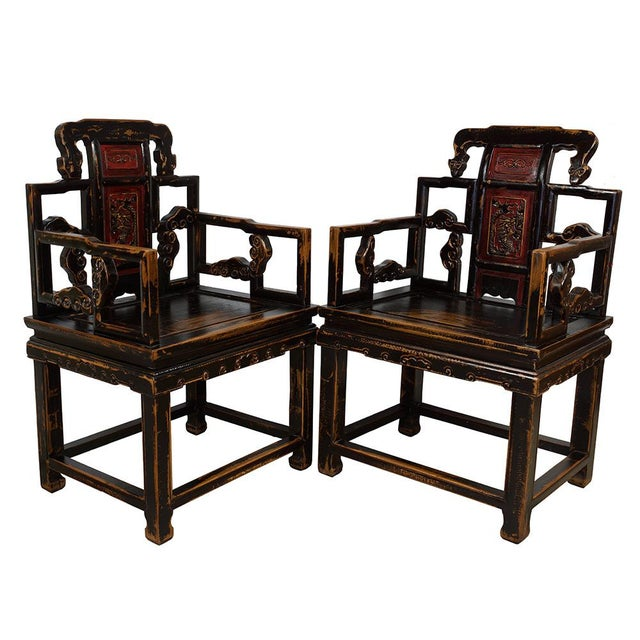 Look at this matching set of beautiful Carved Official ArmChairs with tea table, they are made from solid elm wood with...