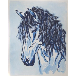 Blue Horse Portrait by Cleo Plowden For Sale