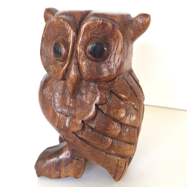 This wise and discerning wood owl figure has the most charming off-kilter eyes, and hand-carved feathers. He appears to be...