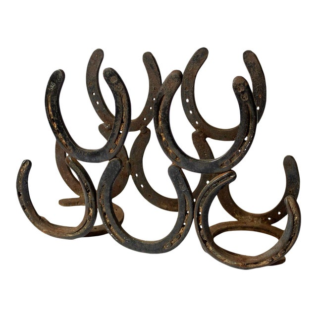 Vintage Horseshoe Wine Rack For Sale