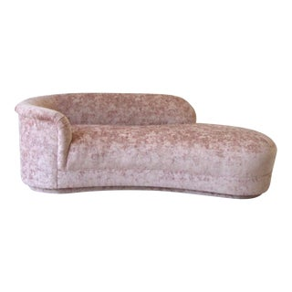 Vintage Light Blush Pink Crushed Velvet Chaise Lounge For Sale
