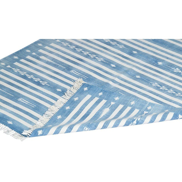 Boho Chic Peppermint Rug, 8x10, Royal Blue & White For Sale - Image 3 of 5