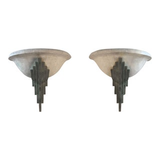 1980s Art Deco Sconces - a Pair For Sale