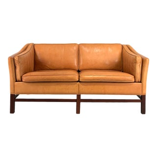 Vintage Danish 2-Seat Butterscotch Leather Sofa For Sale