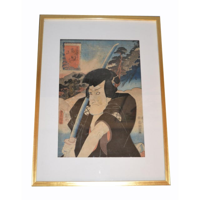 Utagawa Toyokuni III Japanese Gilt Framed Woodblock Print Parchment Paper C. 1857 For Sale - Image 12 of 13