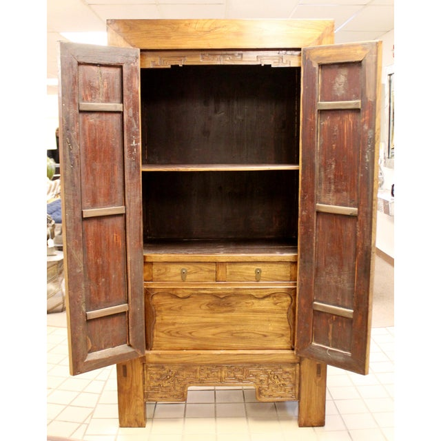 Brown Asian Shantong Style Wood Cabinet Armoire Wardrobe Dresser, 1990s For Sale - Image 8 of 13