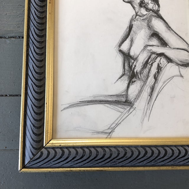 Figurative Original Vintage Female Nude 1950's Charcoal Study Drawing Framed For Sale - Image 3 of 5