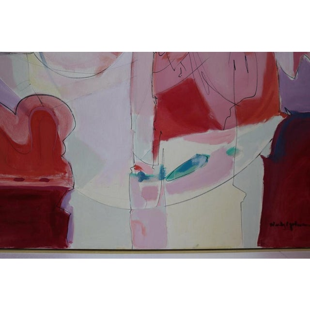 Huge Wesley Johnson Abstract Oil Painting in Variation of Pink For Sale In Los Angeles - Image 6 of 9