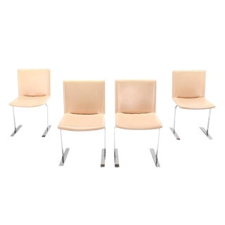 Set of Four Chrome Base Mid Century Dining Chairs For Sale
