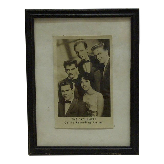 """Vintage """"The Skyliners"""" Framed Promotional Black & White Photograph For Sale"""