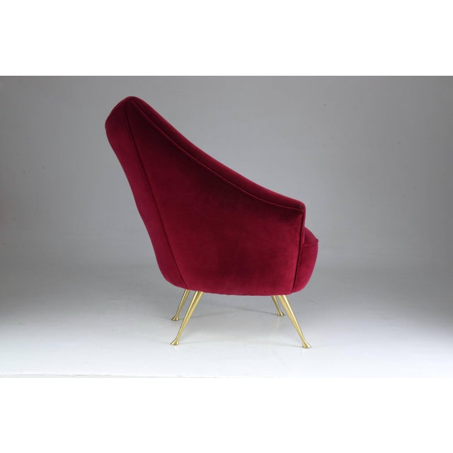 Metal Italian Mid-Century Velvet Armchair For Sale - Image 7 of 11