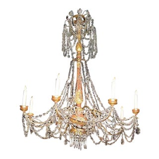 Therien Studios Italian Crystal & Giltwood Chandelier For Sale