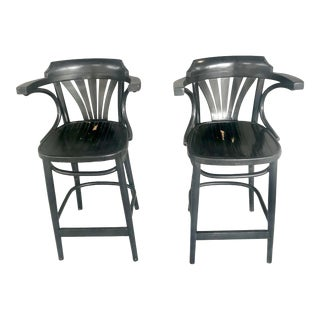 1960s Vintage Michael Thonet Bentwood Barstools- A Pair For Sale
