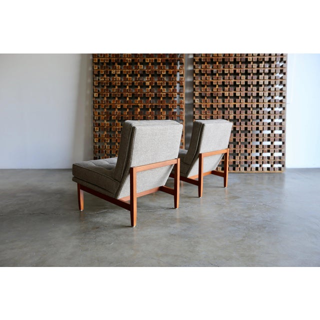 Fabric Mid Century Florence Knoll Slipper Lounge Chairs - a Pair For Sale - Image 7 of 12