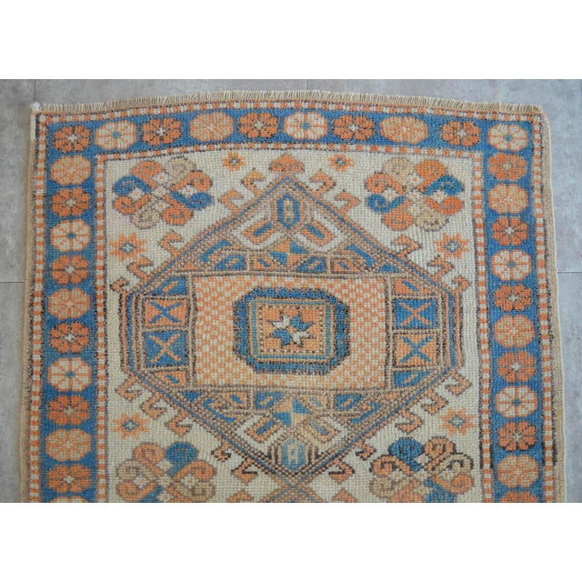 1980s Vintage Low Pile Turkish Rug Hand Knotted Small Area Rug - 3′ X 4′4″ For Sale - Image 5 of 9