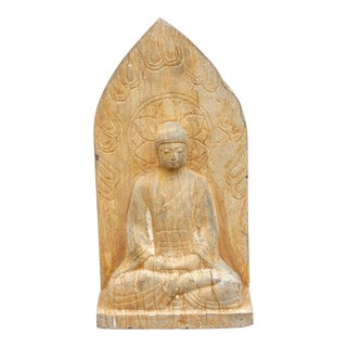 Adorable Weathered Stone Buddha Statue For Sale