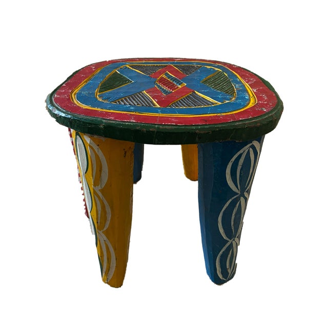 "Yellow African Old Nupe Stool Nigeria 11.5"" H For Sale - Image 8 of 13"