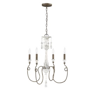 Avignon 4 Light Chandelier French White & Weathered Iron For Sale