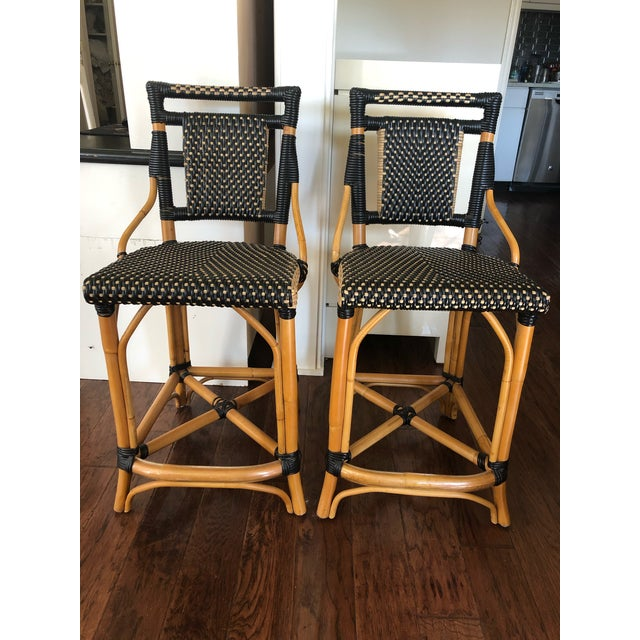 Palecek Bistro Style Rattan & Wicker Counter Stools -A Pair For Sale - Image 10 of 10