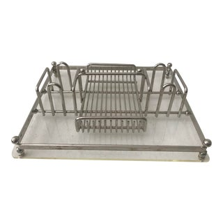 Lucite Metal Chrome Make Up Tray Organizer For Sale