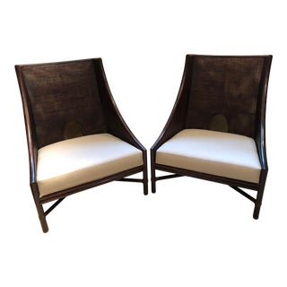 Barbara Barry by McGuire Caned Lounge Chairs - Set of 2 For Sale